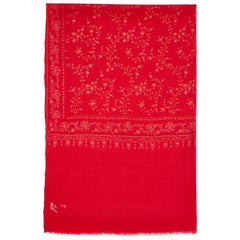 Hand Embroidered Cashmere Scarf in Cherry Red made in Kashmir - Brand New