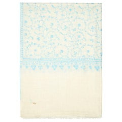 Limited Edition Hand Embroidered Cashmere Scarf in Ivory & Blue Made in Kashmir