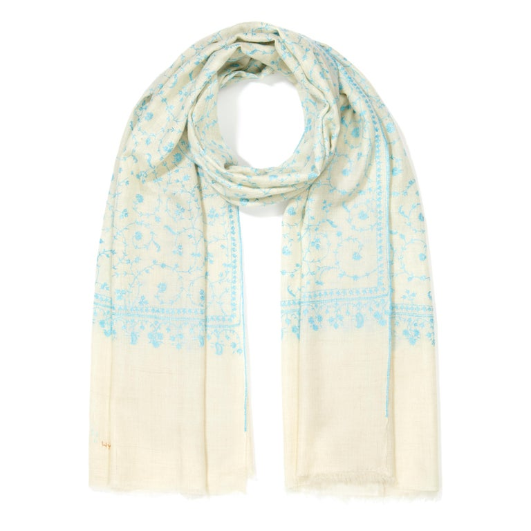 White Limited Edition Hand Embroidered Cashmere Shawl in Ivory & Blue Made in Kashmir For Sale