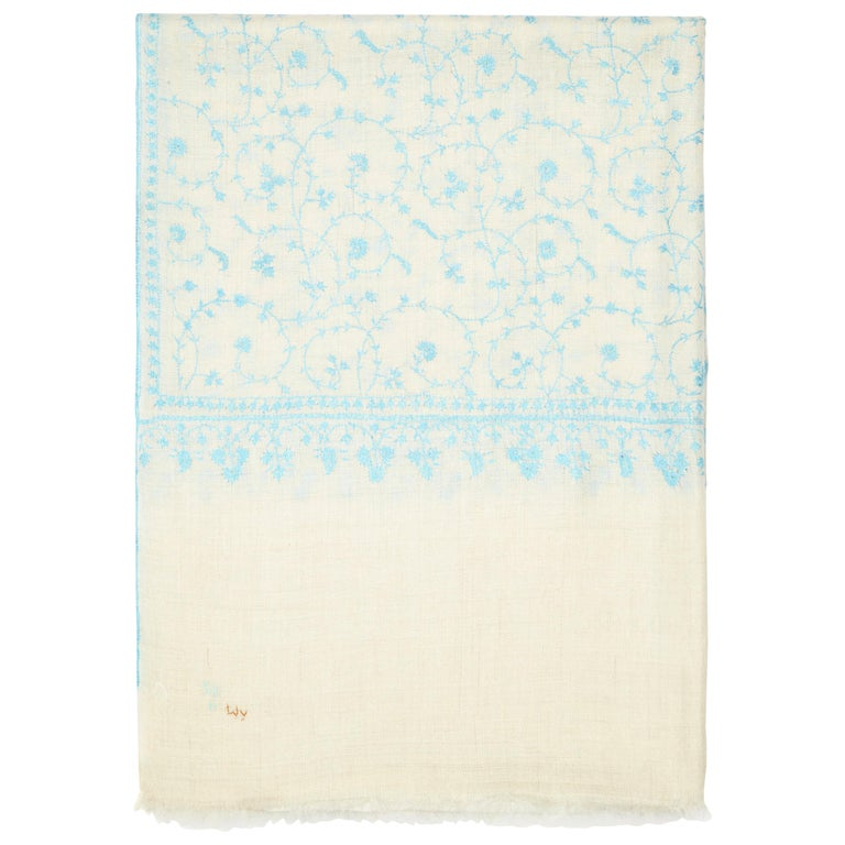 Limited Edition Hand Embroidered Cashmere Shawl in Ivory & Blue Made in Kashmir For Sale