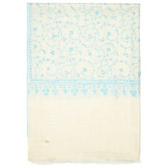 Limited Edition Hand Embroidered Cashmere Shawl in Ivory & Blue Made in Kashmir