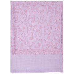 Limited Edition Hand Embroidered Cashmere Shawl in Lilac Made in Kashmir - Gift