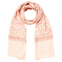 Limited Edition Hand Embroidered Pale Pink 100% Cashmere Shawl - Brand New