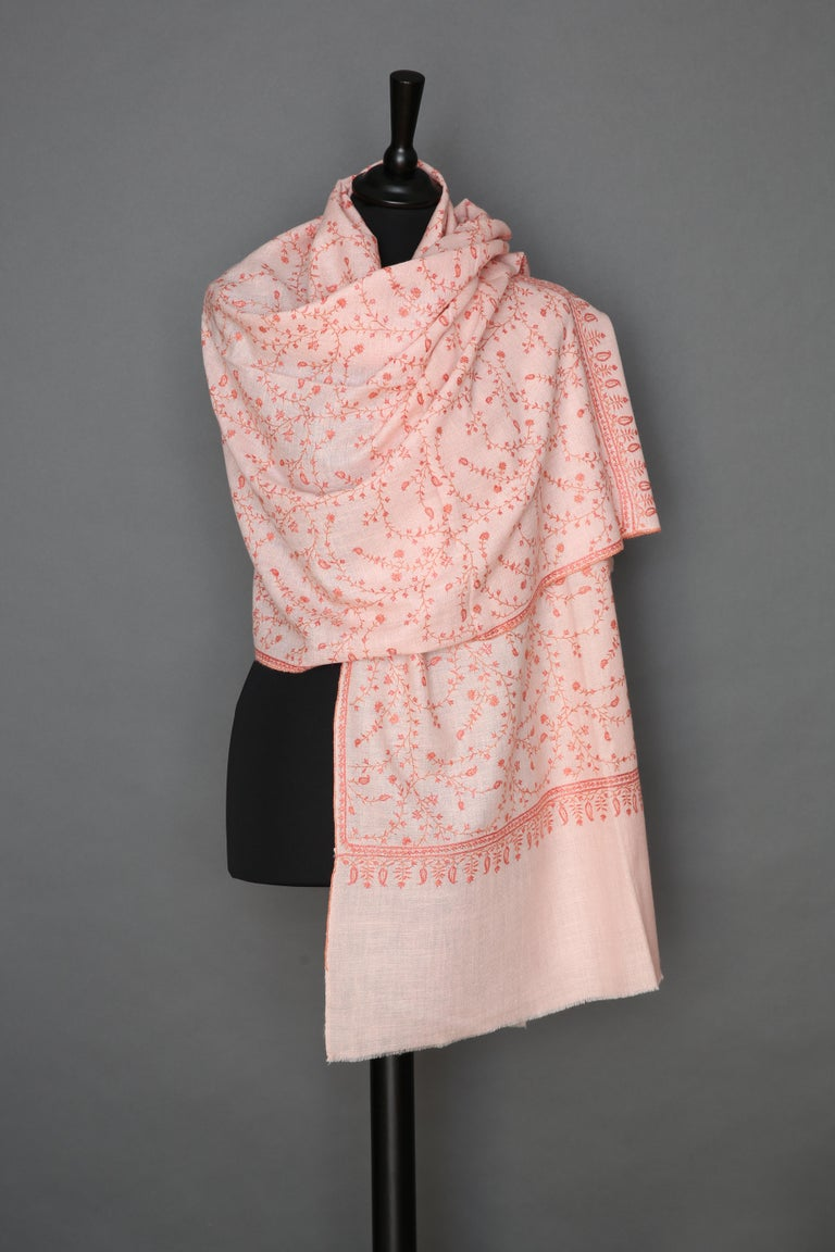 Women's or Men's Limited Edition Hand Embroidered Pale Pink 100% Cashmere Shawl - Gift For Sale