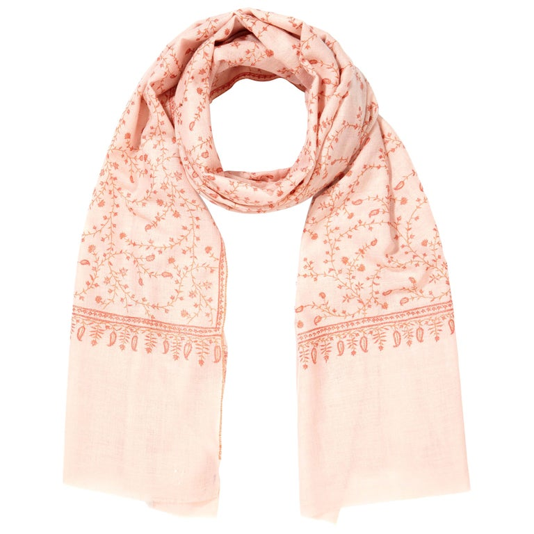 Limited Edition Hand Embroidered Pale Pink 100% Cashmere Shawl - Gift For Sale