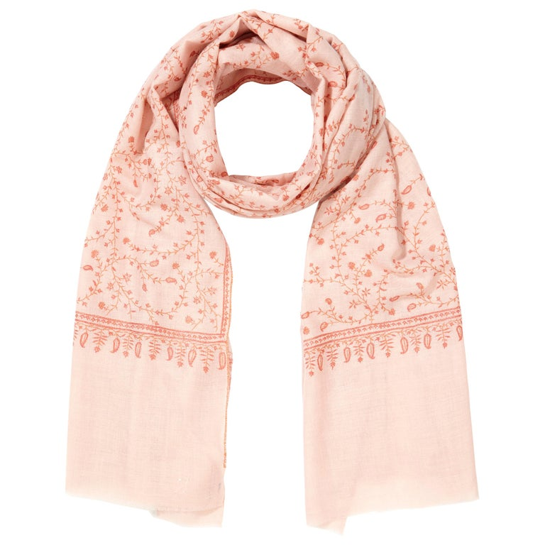 7c9971b70 Limited Edition Hand Embroidered Pale Pink 100% Cashmere Shawl made in  Kashmir For Sale