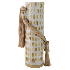 Limited Edition Handmade Vase #695, Dashed Beige on White with Tan Cotton Braid