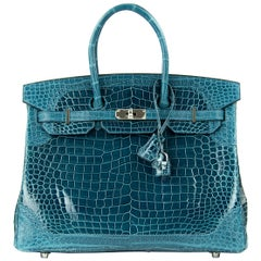 Limited Edition Hermes Birkin Ghillies Bag 35cm Shiny and Matte Bleu Colvert PHW