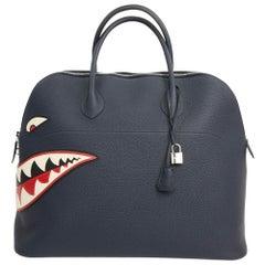 Limited Edition Hermes Blue Bolide Shark Monster Bag