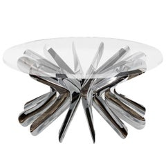 Limited Edition Large Steel in Rotation Coffee Table in Polished Stainless Steel