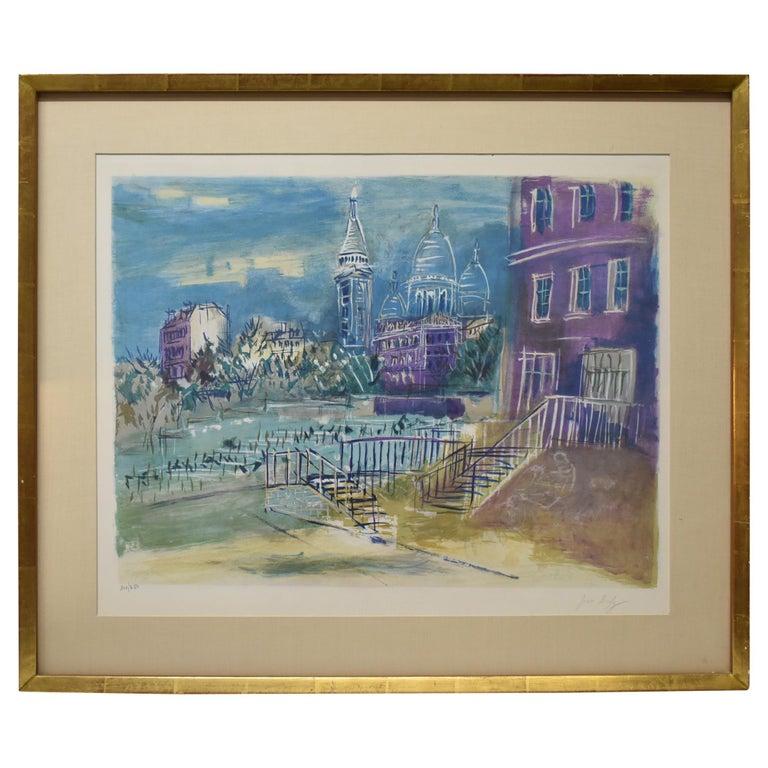 Limited Edition Lithograph 202/250 by Jean Dufy Montmartre Et La Basilique Du For Sale