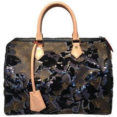 Limited Edition Louis Vuitton Fleur de Jais Sequin Monogram Speedy 30