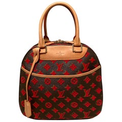 Limited Edition Louis Vuitton Rouge Monogram Tuffetage Deauville Cube Bag