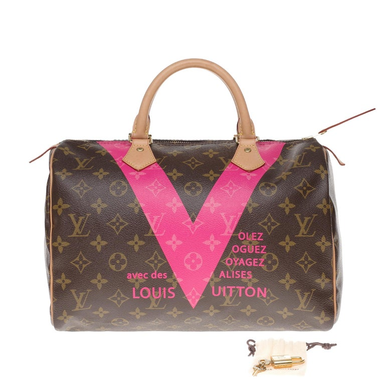 Limited Edition Louis Vuitton Speedy 30 V grenade in brown monogram canvas For Sale 7