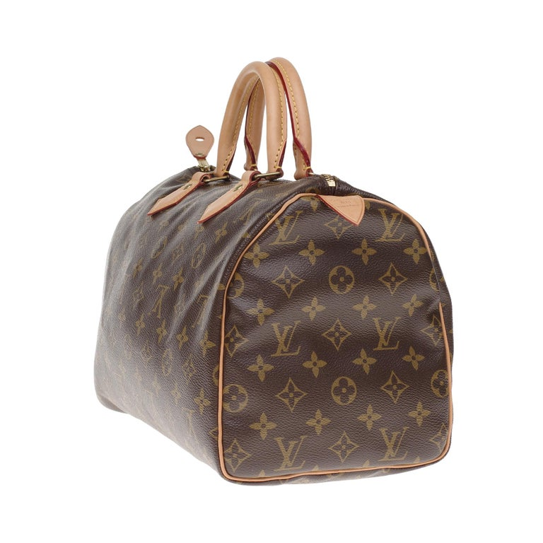 Women's Limited Edition Louis Vuitton Speedy 30 V grenade in brown monogram canvas For Sale