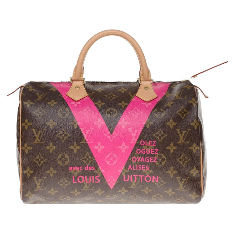 Limited Edition Louis Vuitton Speedy 30 V grenade in brown monogram canvas For Sale