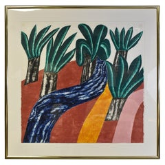 """Limited Edition Modern Colorful Woodcut Print Carol Summers """"Wild Palms"""""""
