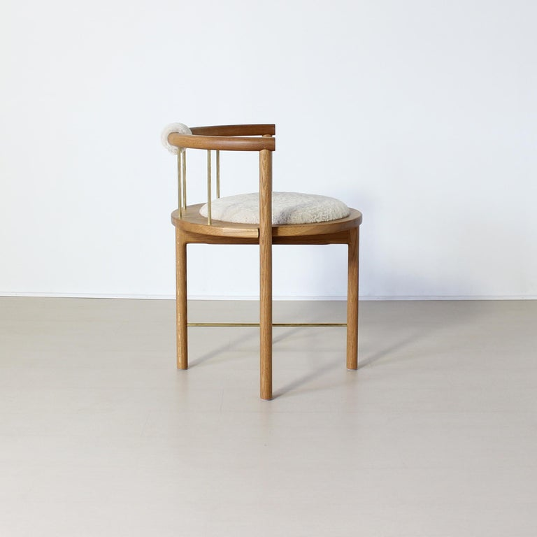 Limited Edition Modern Lloyd Accent Chair in White Oak, Brass, Shearling In New Condition For Sale In Baltimore City, MD