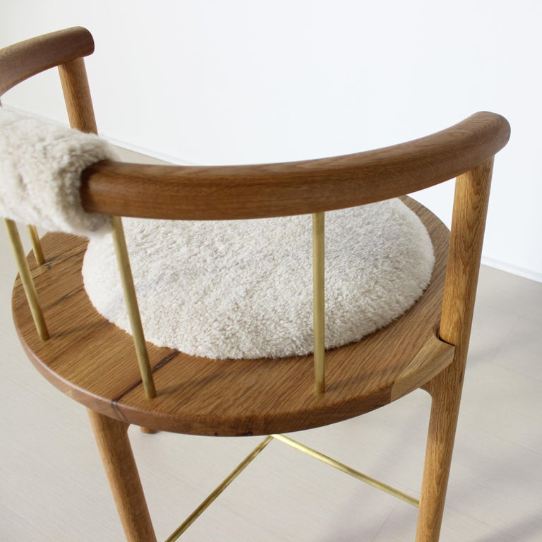 Limited Edition Modern Lloyd Accent Chair in White Oak, Brass, Shearling For Sale 3