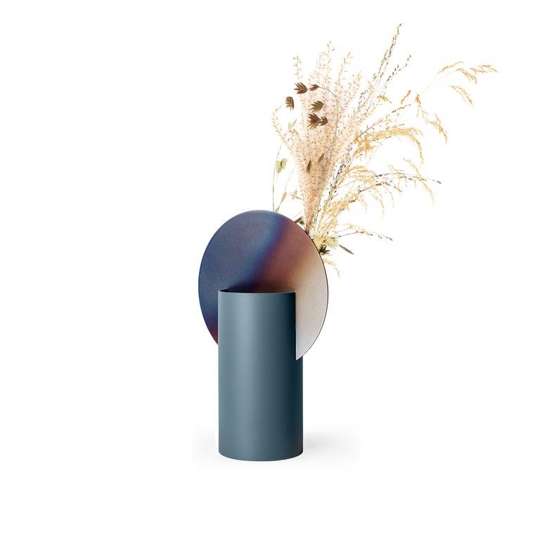 Ukrainian Limited Edition Modern Malevich Vase CSL5 by NOOM with Burned Steel For Sale