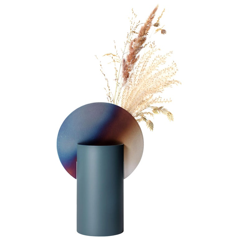 Limited Edition Modern Malevich Vase CSL5 by NOOM with Burned Steel For Sale