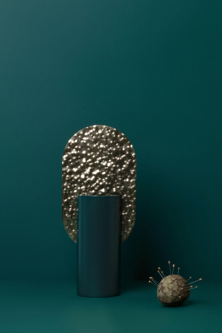 Ukrainian Limited Edition Modern Vase Genke CSL3 by Noom in Hammered Brass and Steel For Sale