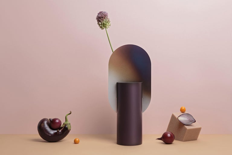 Painted Limited Edition Modern Vase Genke CSL5 by Noom with Burned Steel Accent For Sale