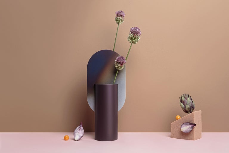 Limited Edition Modern Vase Genke CSL5 by Noom with Burned Steel Accent For Sale 1