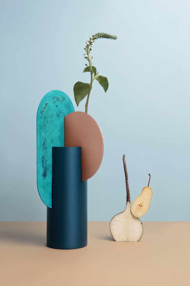 Painted Limited Edition Modern Vase Yermilov CSL2 by NOOM in Oxidized Copper and Steel For Sale