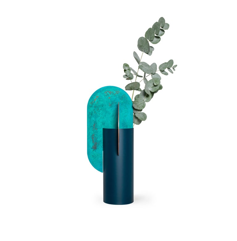 Limited Edition Modern Vase Yermilov CSL2 by NOOM in Oxidized Copper and Steel In New Condition For Sale In Kyiv, UA