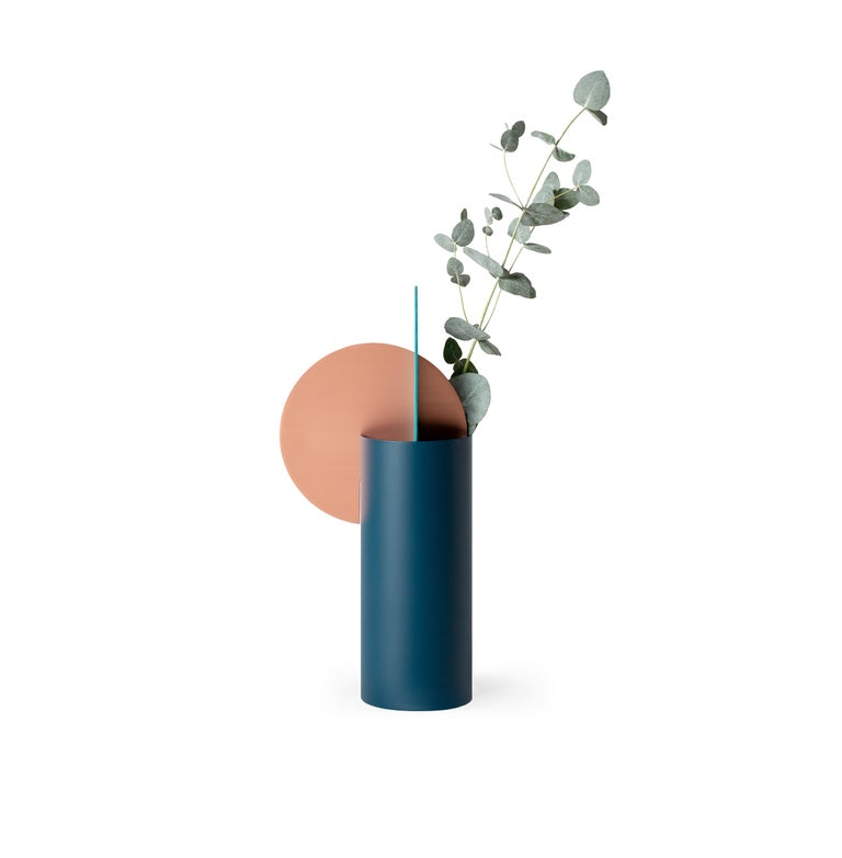 Limited Edition Modern Vase Yermilov CSL2 by NOOM in Oxidized Copper and Steel For Sale 2
