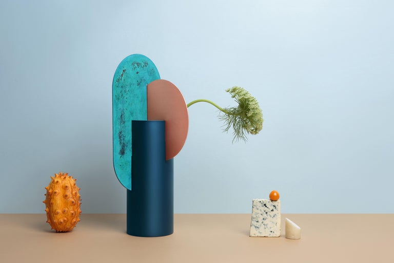 Limited Edition Modern Vase Yermilov CSL2 by NOOM in Oxidized Copper and Steel For Sale 3