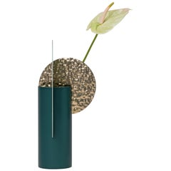 Limited Edition Modern Vase Yermilov CSL3 by NOOM in Hammered Brass and Steel
