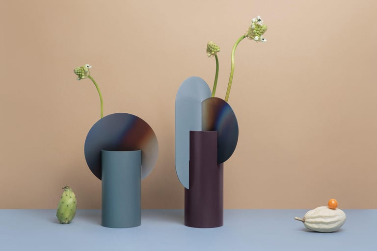 Ukrainian Limited Edition Modern Vase Yermilov CSL5 by NOOM in Burned and Painted Steel For Sale
