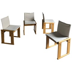 "Limited Edition ""Monk"" Chairs, Afra and Tobia Scarpa for Molteni, 1971, Set of 4"