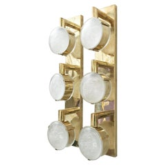 Limited Edition Pair of Murano Frosted Glass Sconces, c 1990s