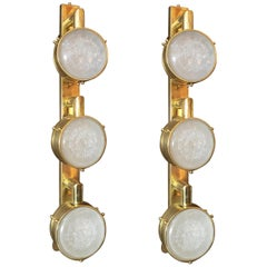 Limited Edition Pair of Murano Frosted Glass Sconces, circa 1990s