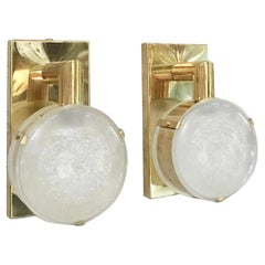 Limited Edition Pair of Sconces w/ Double Frosted Murano Glass, Circa 1990's