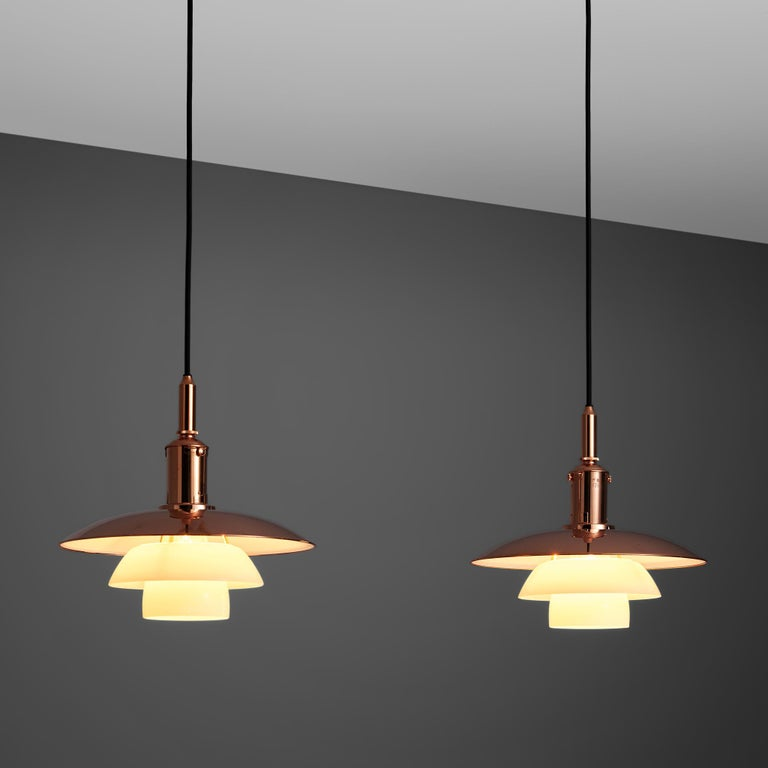 Poul Henningsen for Louis Poulsen, pendant model PH 3 1/2, copper and glass, Denmark, 1929.  The PH 3 1/2 model is an old stock limited edition that is part of the 3-shade PH design that is considered being Poul Henningsen's most iconic and