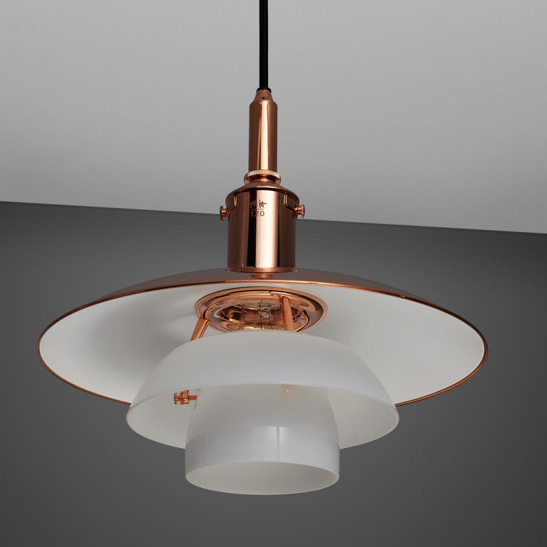 Early 20th Century Limited Edition Poul Henningsen PH 3 1/2 Pendant in Copper For Sale