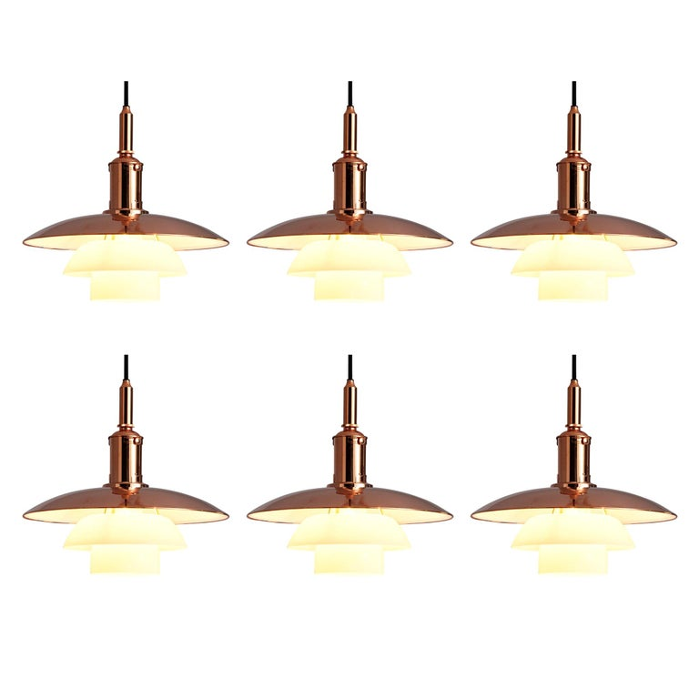 Limited Edition Poul Henningsen PH 3 1/2 Pendant in Copper For Sale