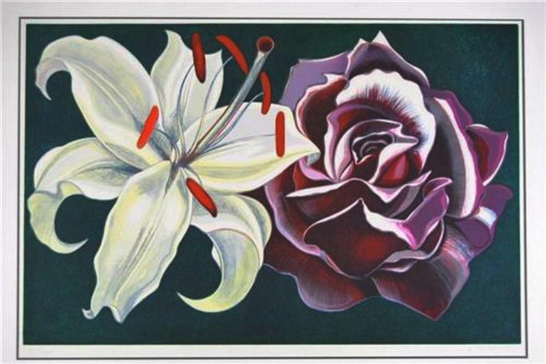 A bold signed and numbered limited edition print by L. Nesbitt, 1974. It features an over scale white lily and purple rose with a forest green field. It is signed Lowell Nesbitt, XV/XXV. It is double matted with a conservation mating. Very good