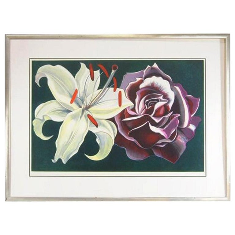 Limited Edition Print L. Nesbitt 1974 Lily & Rose Signed For Sale