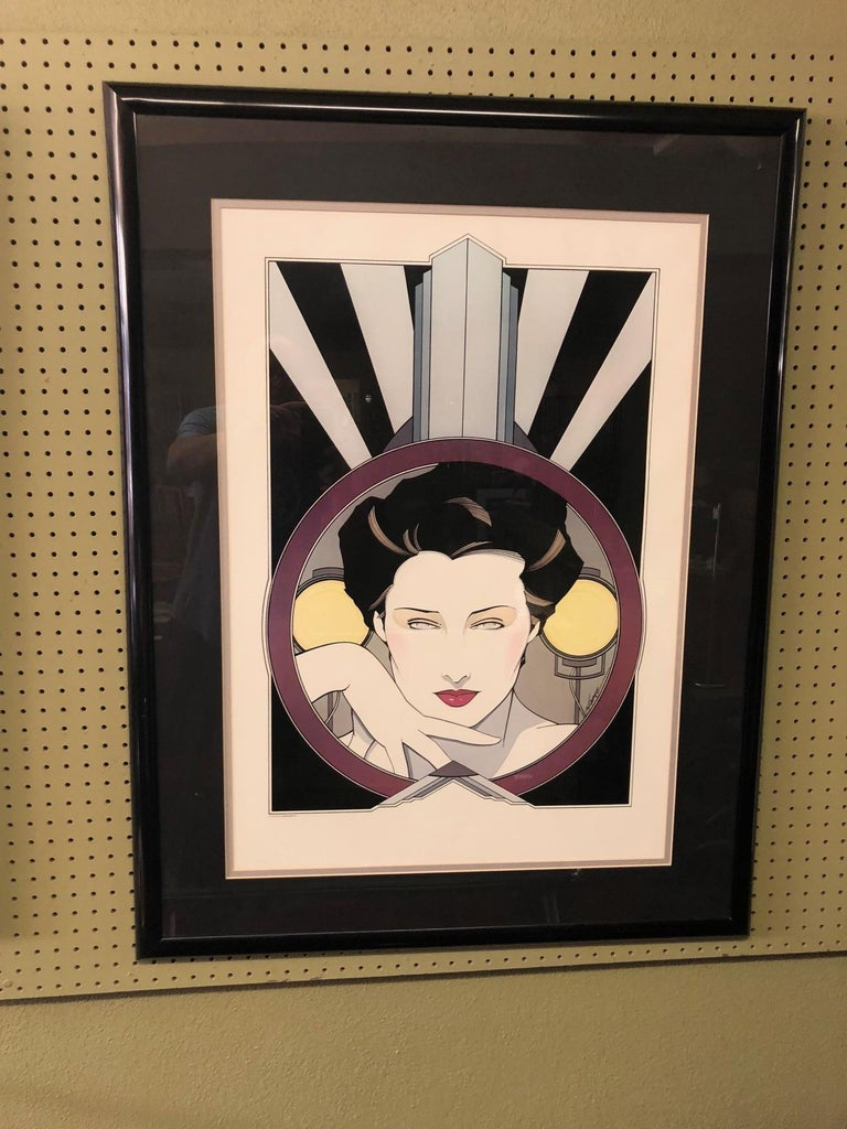 Limited edition serigraph (silkscreen) by Patrick Nagel, circa 1979.  Patrick Nagel was an American artist who did work for Playboy magazine throughout the 1980s. He created popular illustrations on board, paper and canvas, most of which emphasize