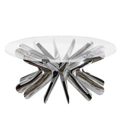 Limited Edition Small Steel in Rotation Coffee Table in Polished Stainless Steel