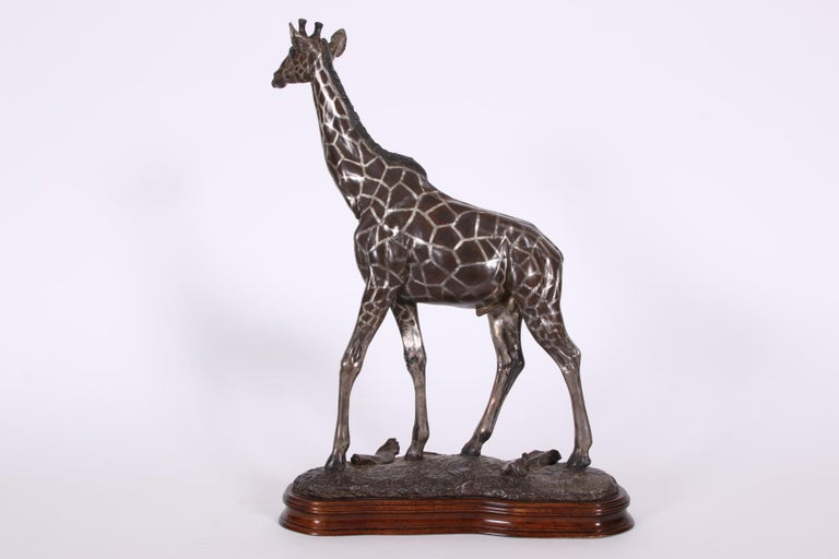 Limited Edition Sterling Silver Giraffe Sculpture by Tim Nicklin In Good Condition For Sale In Bridgeport, CT
