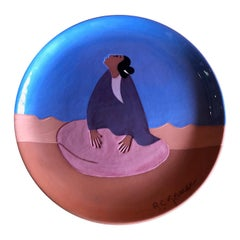 "Limited Edition Terracota Plate ""Desert Lady"" by R.C. Gorman"
