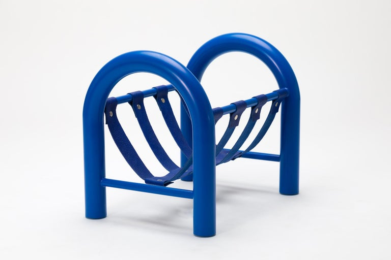 The Tubular magazine rack is a lightweight yet durable magazine rack perfect for holding any reading materials you want at the ready, while injecting a sense of thoughtful design into a space.  This limited edition blue frame with blue leather