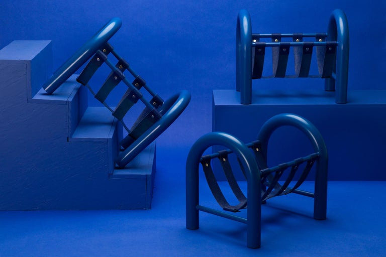 Post-Modern Limited Edition Tubular Magazine Rack by Another Human, Blue For Sale