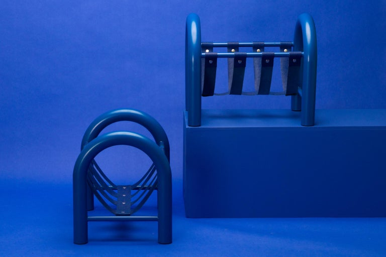 American Limited Edition Tubular Magazine Rack by Another Human, Blue For Sale